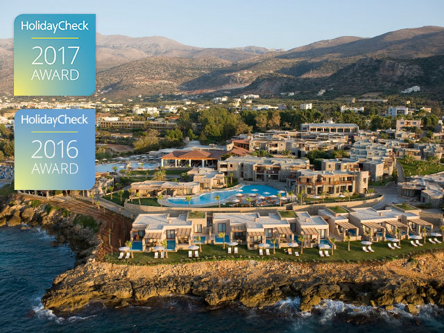 Ikaros Beach Luxury Resort Ranks 2nd on Crete Island (Greece) & Receives HolidayCheck Award 2017